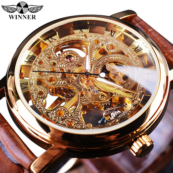 цена на Winner Transparent Golden Case Luxury Casual Design Brown Leather Strap Mens Watches Top Brand Luxury Mechanical Skeleton Watch