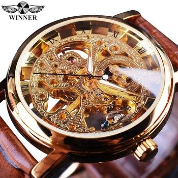 Winner funda dorada transparente de lujo de diseño Casual correa de cuero marrón para hombre relojes de marca superior reloj de esqueleto mecánico de lujo