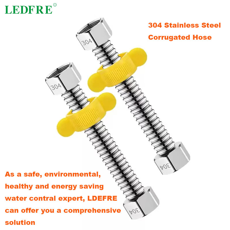 LEDFRE F1/2/F3/4/F1 304 Stainless Steel Corrugated Connector Water Heater Bathroom Plumbing Hose  10cm -500cm Lenght Customized