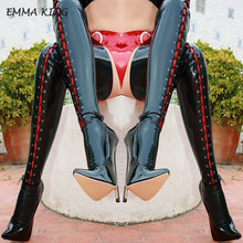 Emma king/Сапоги выше колена с острым носком пикантные женские сапоги до бедра на высоком каблуке с перекрестной шнуровкой; сезон осень-зима; женская обувь черного цвета