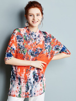 MIYAKE pleated T shirt women's summer new floral mid sleeve loose mid length T shirt free shipping
