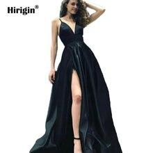 Женское вечернее платье hirigin черное с разрезом сбоку вечерние