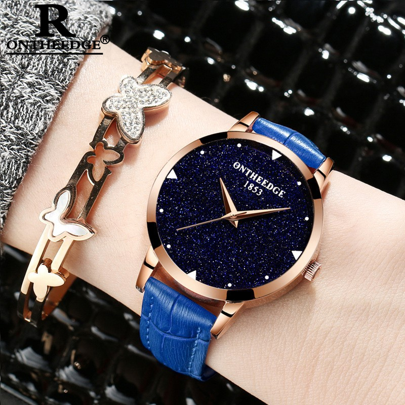 ONTHEEDGE 2020 Fashion Genuine Leather Strap Luxury Quartz Watch Waterproof Luminous Starry Sky Ladies Watches Gifts For Women