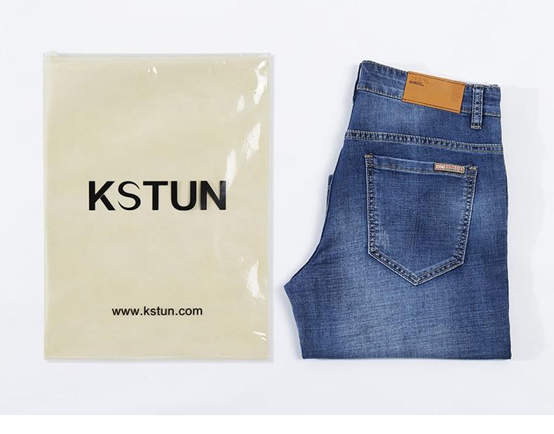 KSTUN Men's Jeans Shorts Stretch Light Blue Fashoin Brand Slim Fit Summer Denim Pants Male Jeans