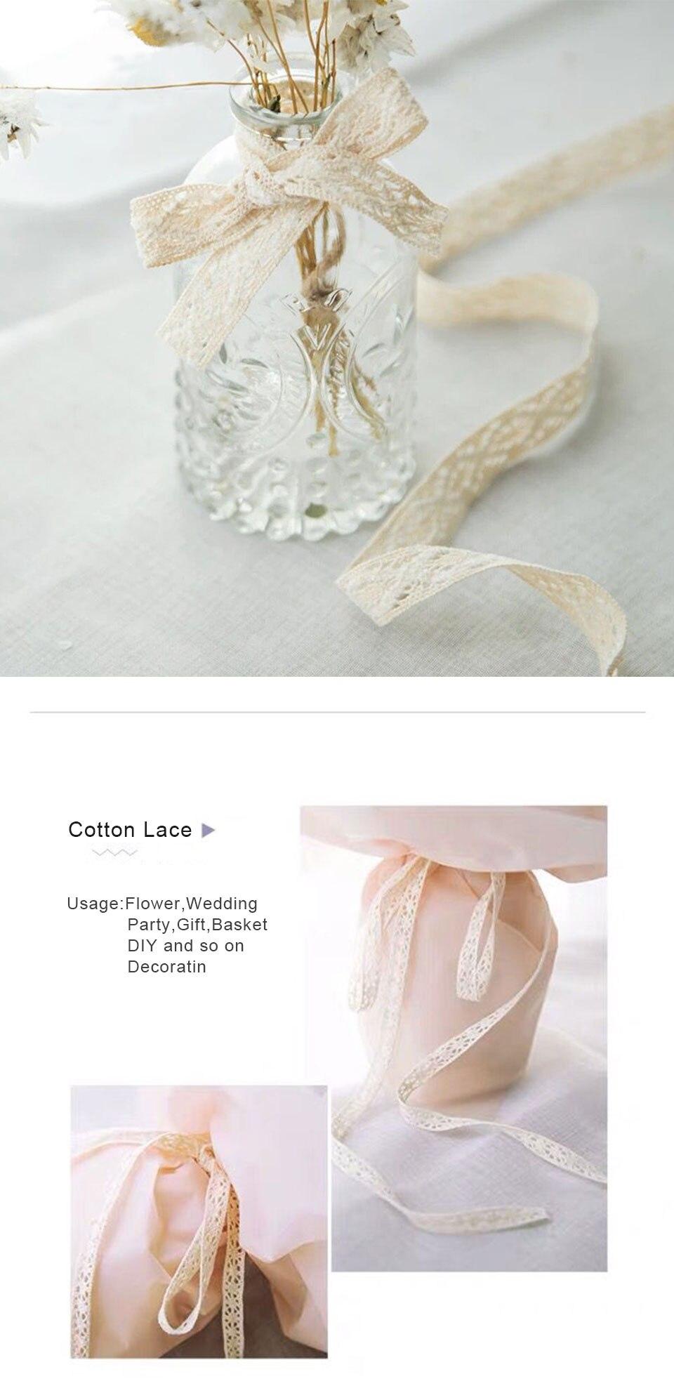 2M Blanco Crochet festoneado de encaje de algodón o Crema Vintage como adorno de costura 10mm