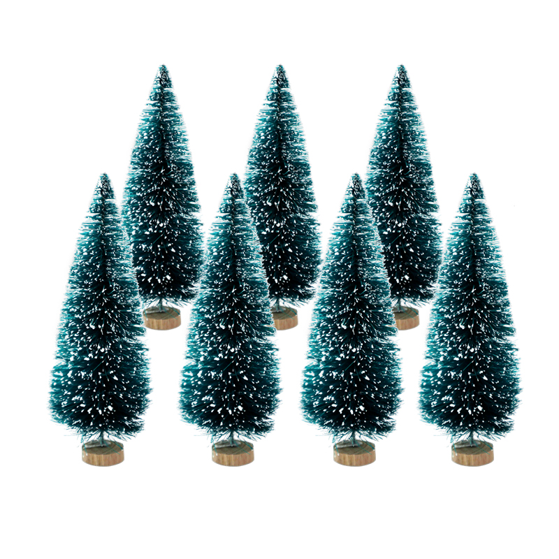8pcs Mixed Size Mini Christmas Tree Green Sisal Cedar Small Pine Tree For New Year Xmas Party Home Table Ornaments Kids Gifts