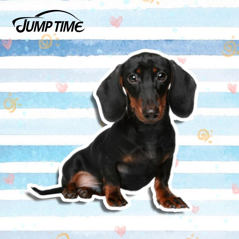 Jump Time 13cm X 12.1cm Dachshund Loyal Cute Pet Vinyl Sticker Car Window Bumper Decal Dog Car Sticker Waterproof 3D Car Styling