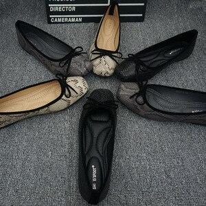 Image 5 - Loài Rắn Giày Đế Bằng Nữ Da Ballerinas Mũi Tròn Bowtie Trơn Trượt Trên Ba Lê Căn Hộ Cho Mẹ Cho Nữ Mộc Mạch Trà Dép Nữ Đế Bằng