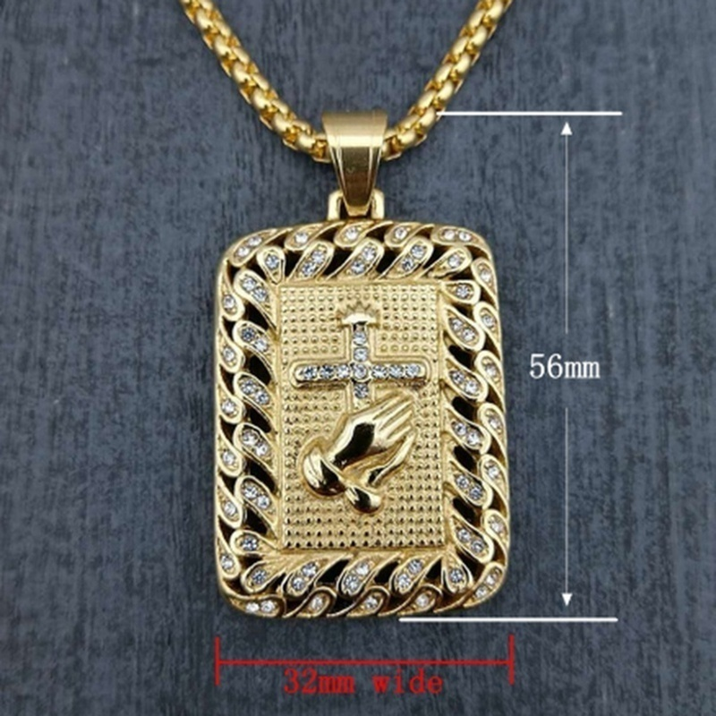 Men's 316L Stainless Steel Chain Pendant Necklace Religious Square Praying Hands Cross Necklace Motorcycle Party Hip Hop Jewelry