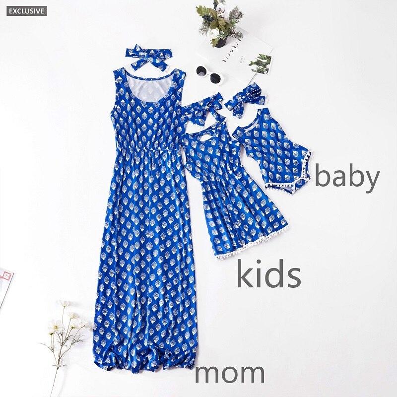 Azul impressão geométrica sem mangas arco vestido para família pai-filho combinando roupa mãe filha vestidos pijamas festa de verão
