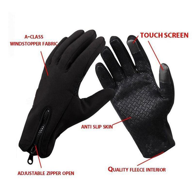 1 Pair Outdoor Warm Touch Screen Men Gloves Ski Lady Waterproof Rain-proof Fashion Outdoor Windproof Riding Zipper Sports Gloves