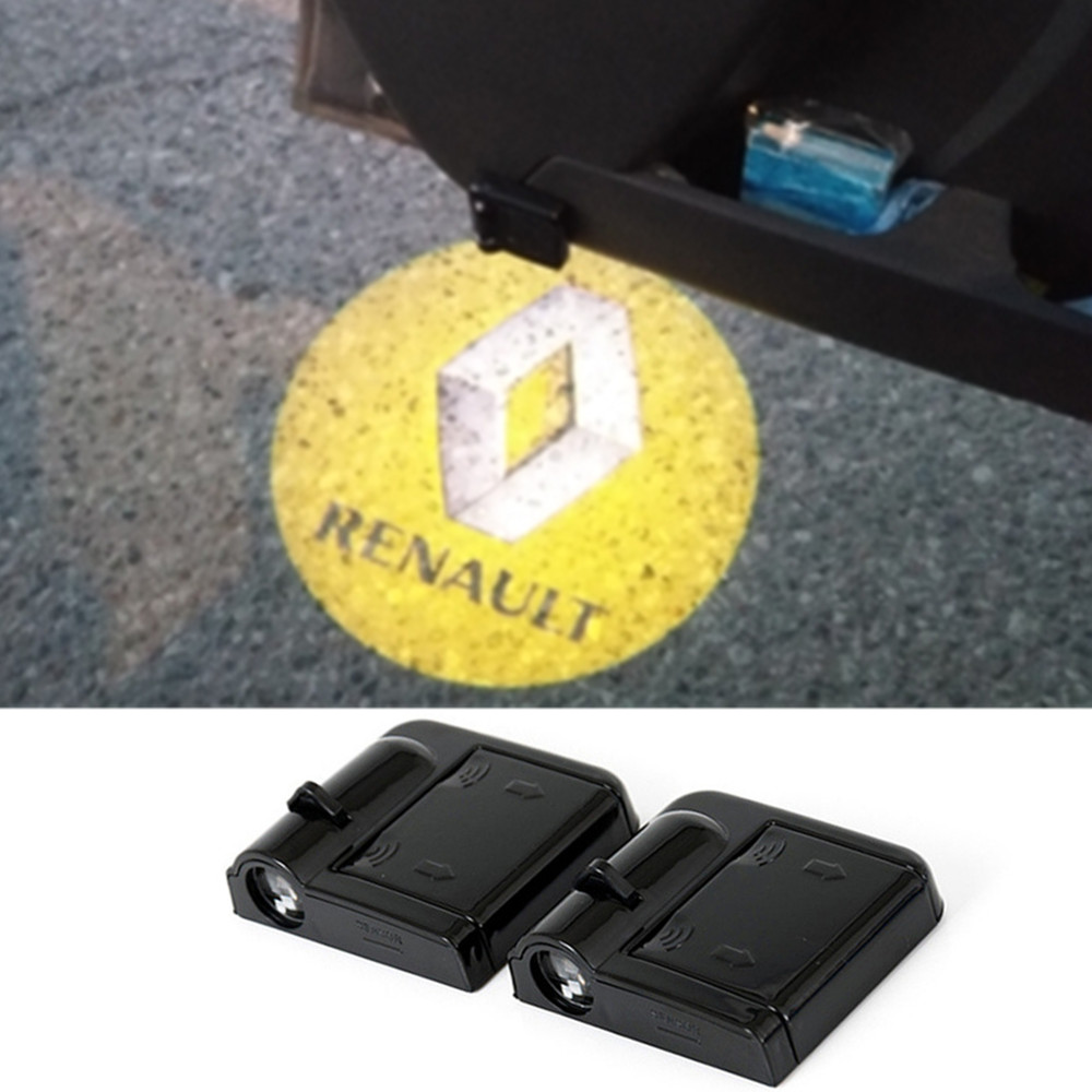<font><b>LED</b></font> Car Door Logo Projector Light For <font><b>Renault</b></font> Megane Euro Clio <font><b>Duster</b></font> Fluence Kangoo Express Koleos Laguna Logan Safrane Sandero image