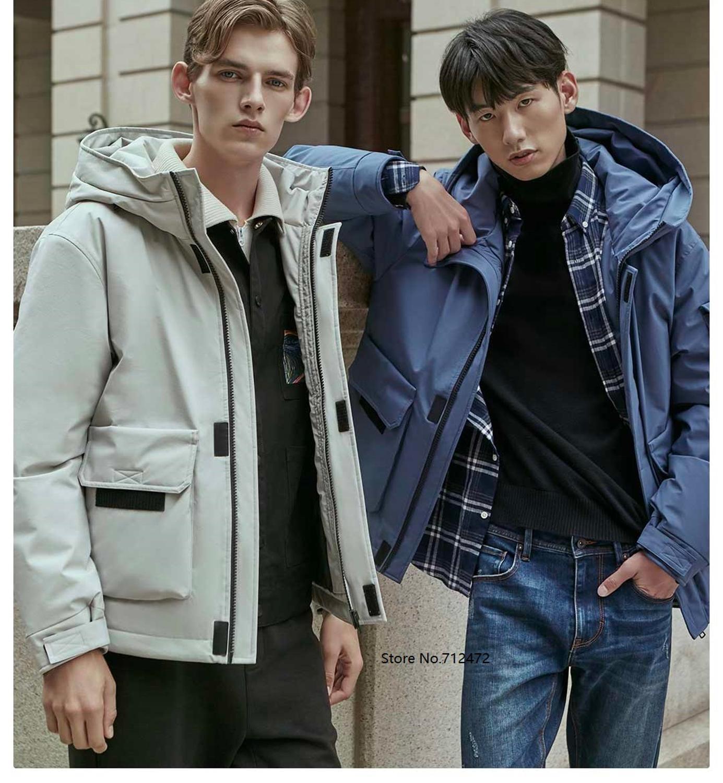 Xiaomi 90 homem inverno quente com capuz curto jaqueta 90% pato para baixo à prova dwaterproof água outwear solto casaco - 5