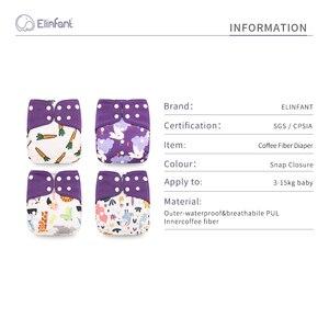Image 2 - Elinfant wholesales100pcs New 4pcs/set Washable coffee mesh Cloth Diaper cover Adjustable Nappy Reusable Cloth pocket Diapers