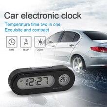 Автомобильные мини электронные часы Авто приборная панель часы светящийся термометр Черный Цифровой дисплей автомобильные аксессуары