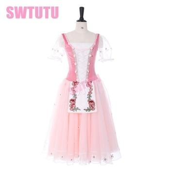 цена на Pink Ballet Tutu Dress Peasant Girl Giselle Maid Tutu Dress Girls Romantic Tutu Dress Ballet Tutu Professional For AdultsBT9239