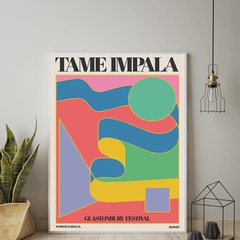 Tame Impala At Glastonbury Gig Poster Vintage Colorful Canvas Painting Retro Wall Pictures for Living Room Home Decor Frame image