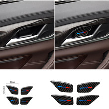 Calcomanía de fibra de carbono para puerta de coche, para BMW serie 5, G30, G38, 528i, 530i, 2018, manija Interior, cubierta de cuenco, pegatina de coche, diseño Interior de coche