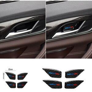 Image 1 - Für BMW 5 Series G30 G38 528i 530i 2018 Carbon Faser Aufkleber Auto Tür Innen Griff Schüssel Abdeckung Auto Aufkleber auto Interior Styling