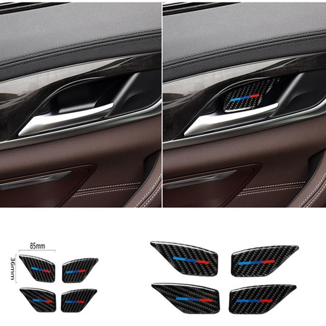 Für BMW 5 Series G30 G38 528i 530i 2018 Carbon Faser Aufkleber Auto Tür Innen Griff Schüssel Abdeckung Auto Aufkleber auto Interior Styling