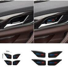 Per BMW 5 Serie G30 G38 528i 530i 2018 In Fibra di Carbonio Decal Auto Porta Interna Maniglia Coperchio Della Ciotola Sticker interni Auto Styling