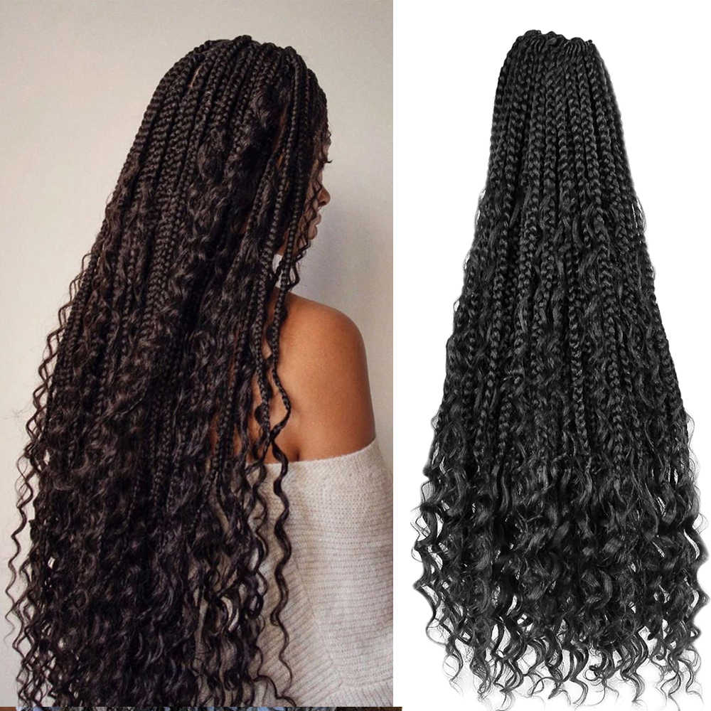22 inches Bohemian Ombre Braiding Hair Extension Synthetic Crochet Hair Messy Goddess Box Braids Hair With Curly Ends