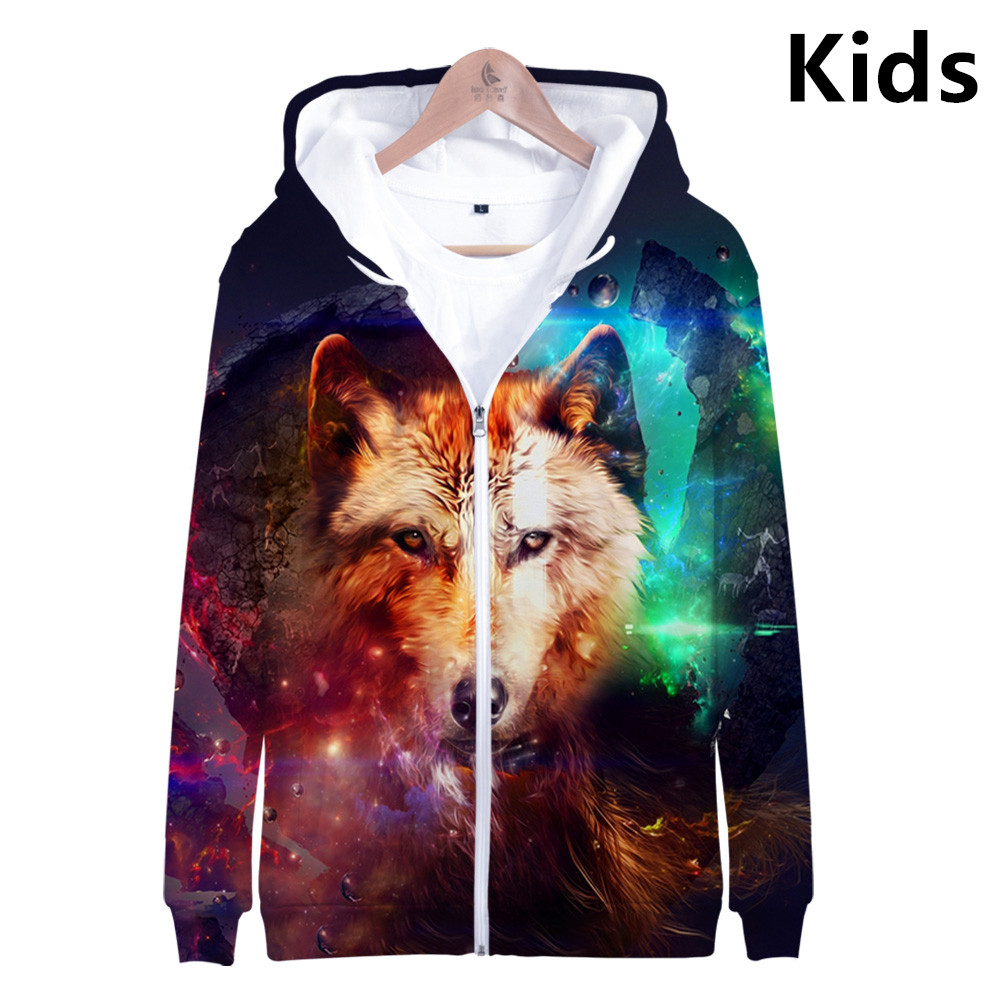 3 To 13 Years Kids Hoodies Space Galaxy 3D Wolf Printed Hoodie Sweatshirt Boys Girls Long Sleeve Jacket Coat Teen Clothes
