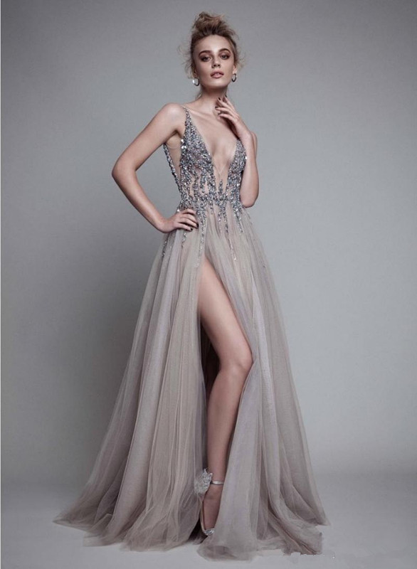Sexy Prom Dress 2019 A-line Deep V-neck Tulle Beaded Crystals Slit Backless Long Prom Gown Evening Dresses Robe De Soiree