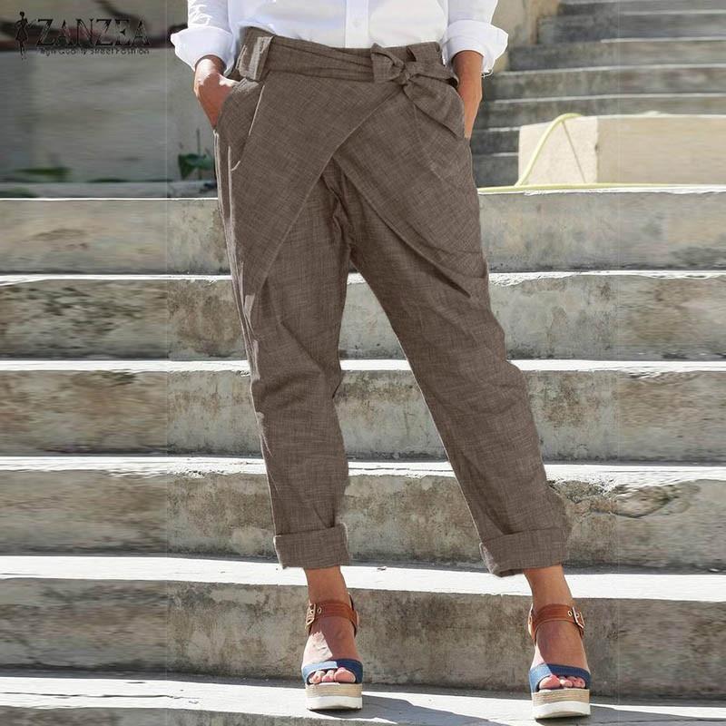 2020 ZANZEA Fashion Pencil Pants Women's Trousers Casual Elastic Waist Casual Pantalon Belted Plus Size Solid Lace Up Turnip 5XL
