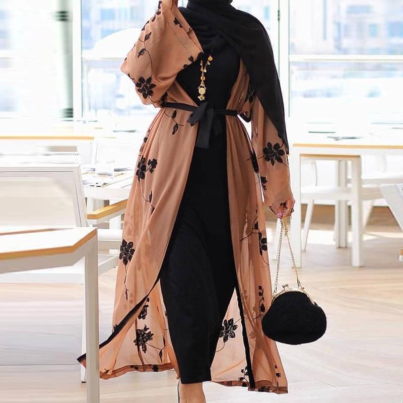Chiffon Dubai Abaya Kimono Islam Muslim Hijab Dress Abayas For Women Kaftan Caftan Marocain Turkish Islamic Clothing Robe Coat