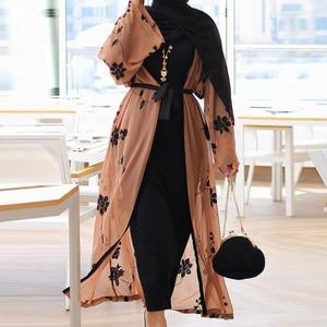 Chiffon Dubai Abaya Kimono Islam Muslim Hijab Dress Abayas For Women Kaftan Caftan Marocain Turkish Islamic Clothing Robe Coat(China)