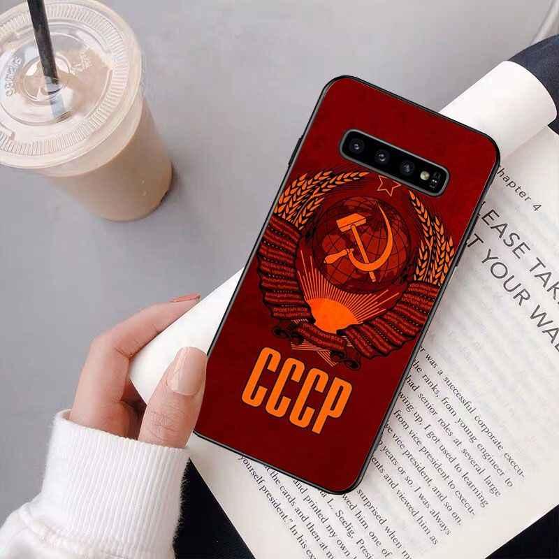 União soviética urss grunge bandeira pintado silicone caso do telefone capa para samsung s9 plus s5 s6 borda mais s7 borda s8plus s10 e s10plus