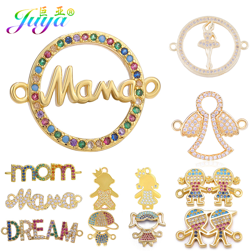 Juya DIY Needlework Jewelry Accessories DREAM MAMA MOM Letters Boy Girl Figures Charm Connectors For Bracelets Earrings Making