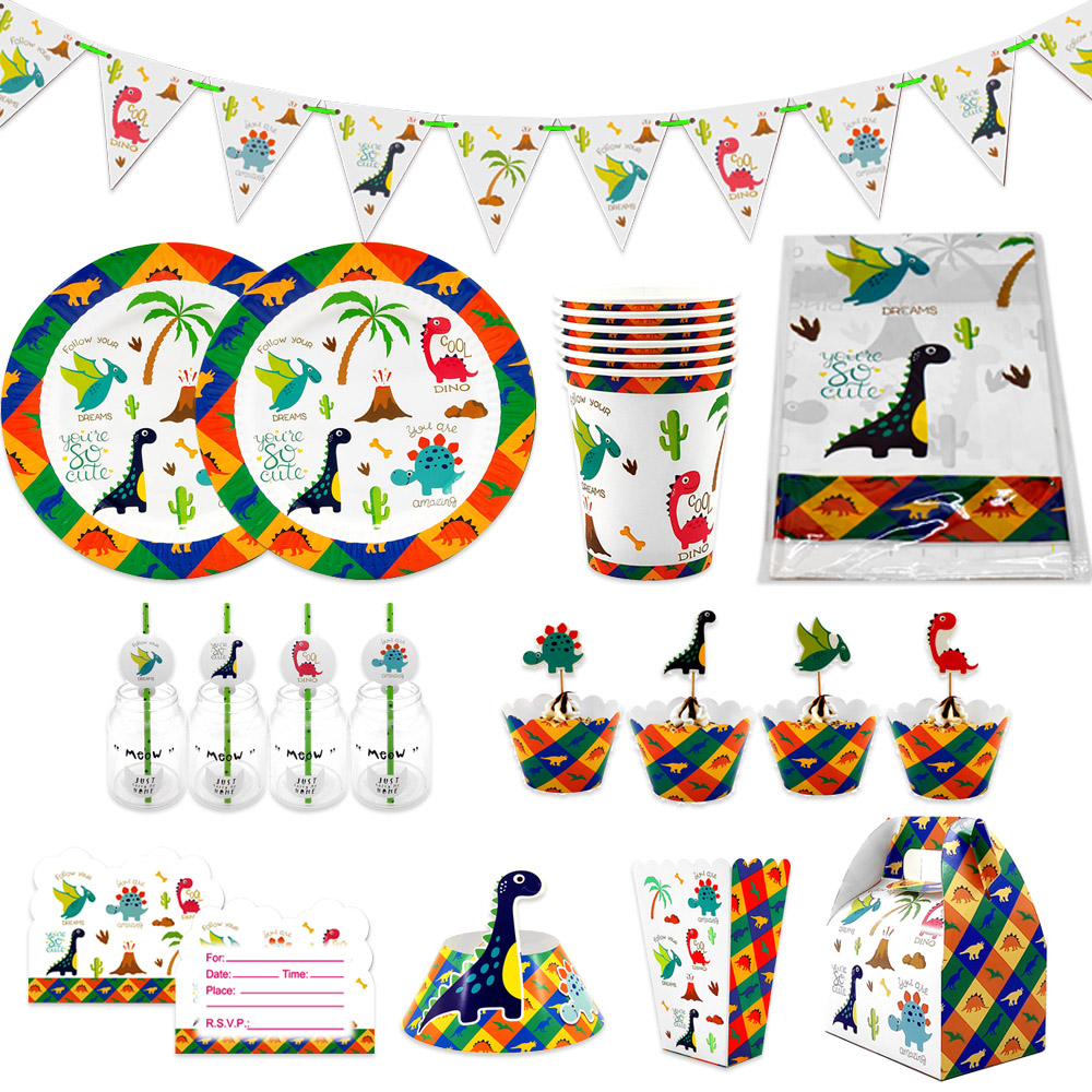 For Kids Birthday Dinosaur Theme Party Supplies Disposable Tableware Plate Cup Straw Candy Box Hat Invitations Ba'l'loon Ect.