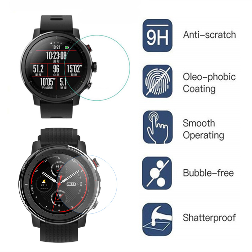 2Pcs 9H Tempered Glass Film For Huami Amazfit Stratos 2/3 GPS Smart Watch Screen Protector Film Anti-Scratch Transparent Film