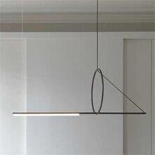 Post moderne pendentif lumières Simple fer Art lampe salle à manger meubles concepteur éclairage intérieur salon décor luminaires