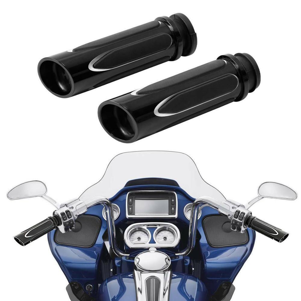 "1/"" Motorbike Chorme Handlebar Hand Grips For Harley Touring Road Glide Road King"