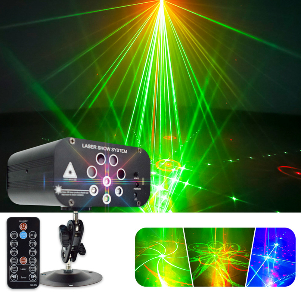 DJ Disco Light 128 Patterns RGBW Professional DJ Stage Laser Projector Lights Music Control For Wedding DJ Bar Party Light