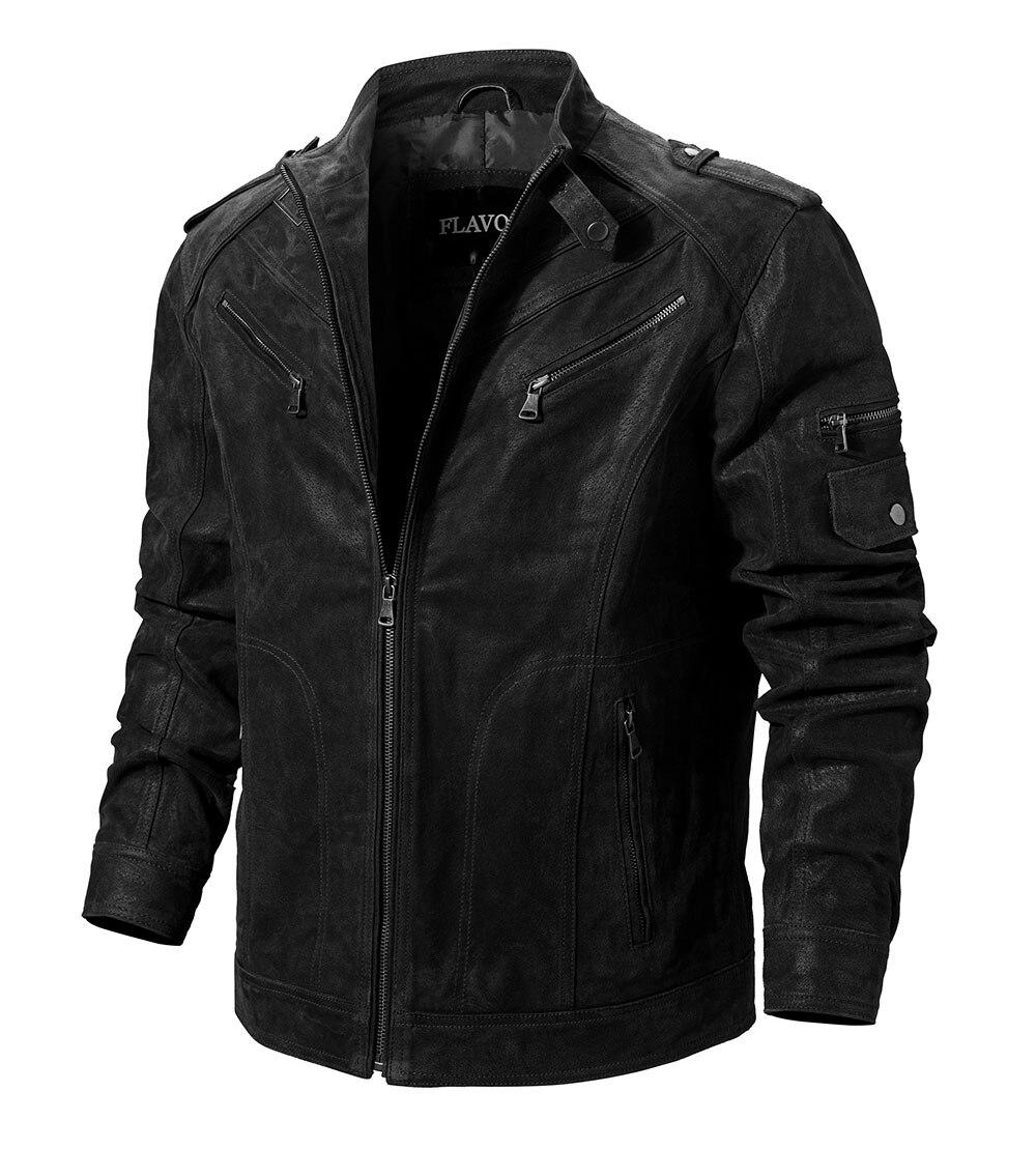 H953565868b8548efa92b21d1110152a78 Men's Pigskin Real Leather Jacket Genuine Leather Jackets Motorcycle Jacket Coat Men