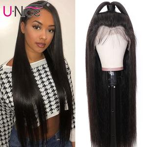 Unice Hair 13*4/6 Brazilian Straight Glueless Lace Front Human Hair Wig With Baby Hair Pre Plucked Remy Natural Wig For Women(China)