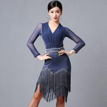 Новинка года, конкурс латиноамериканских танцев, платье для женщин, сексуальное Сетчатое платье с длинными рукавами и бахромой, платье для танцев, платье для женщин, одежда для гатсби, DL4403