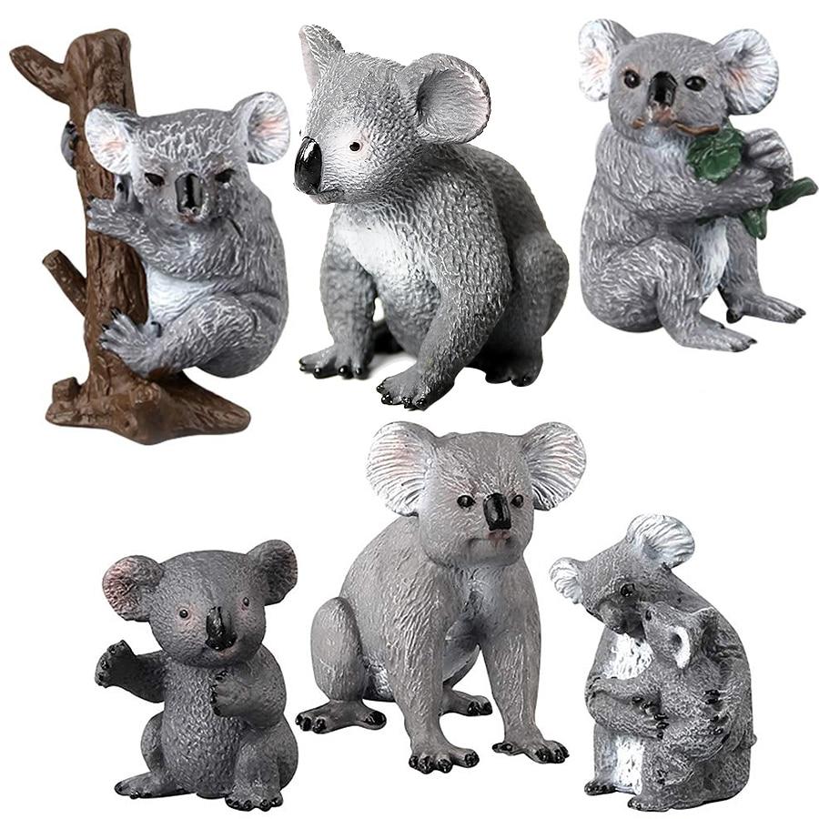 Realista vida selvagem selva zoológico coala animais autênticos pintados à mão estatueta modelo coala urso escalada uma árvore brinquedo figura
