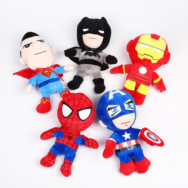 Плюшевые игрушки из фильма «мстители», 26 см, супергероев, Человек-паук, Капитан Америка, кукла Железный человек, мягкие игрушки для детей в п...