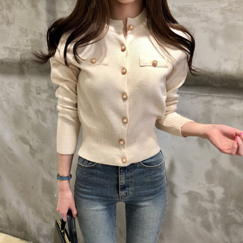 Ailegogo Women's Sweaters Autumn Winter 2020 Cardigans Knitted Button Single Breasted Fashion Korean Style Slim Solid Tops 1