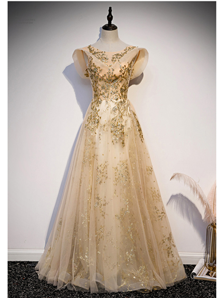 Luxury Gold Evening Dresses Long Dress With Sequined Robe De Soiree 2020 Scoop Neck A-line Evening Dress Elegant Party Dress