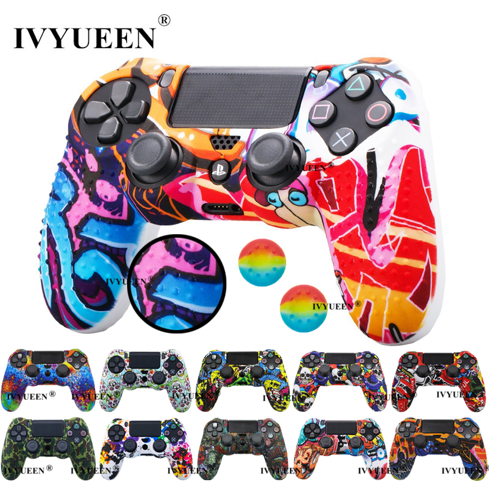 IVYUEEN 25 Colors Anti Slip Silicone Protective Skin Case For Sony PlayStation 4 PS4 DS4 Pro Slim Controller Thumb Grip Caps(China)