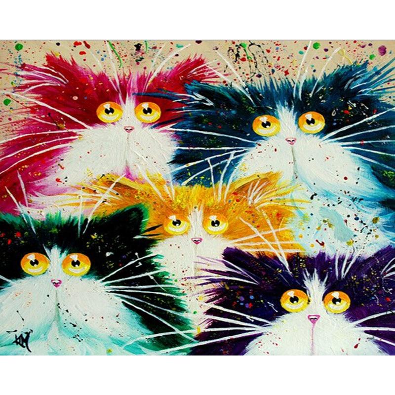 Pintura de acrílico divertida, pintura de gatos para crianças e adultos, faça você mesmo, com números em tela para viver parede do quarto
