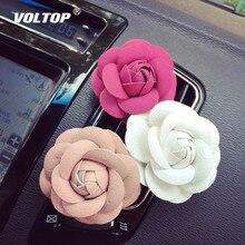 Araba styling Kamelya Yüksek Çiçek Araba Aksesuarları Kadın Hava Çıkış Parfüm Klip Pano Dekorasyon Iç Süsleme