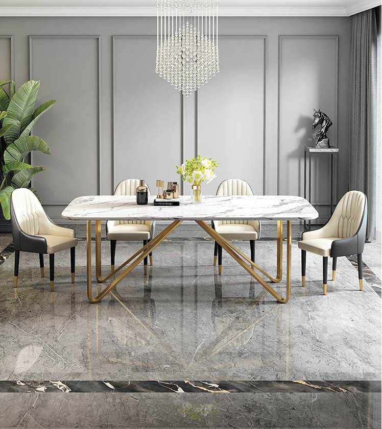 Light luxury dining table marble dining table modern simple household small family dining table chair combination Hong Kong Styl 1