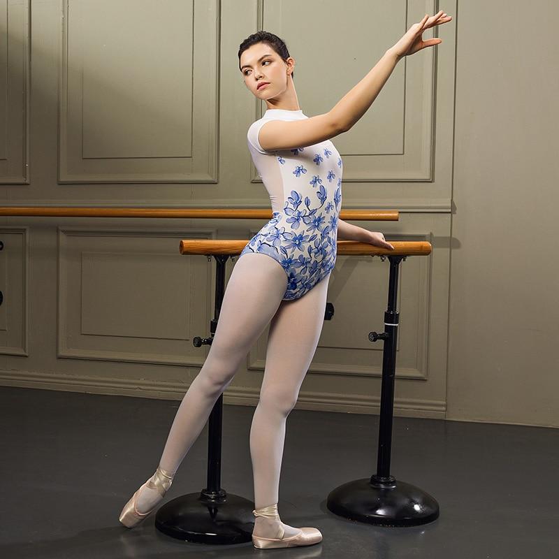 inhzoy Womens Floral Lace Lyrical Ballet Dancing Dress Long Sleeves Back Zipper Leotard Bodysuit